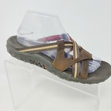 """Skechers Womens Size 8 """"Reggae Soundstage"""" Brown Leather Strappy Thong Sandal"""