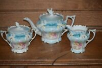 RS Prussia Teapot Set with Creamer & Sugar - Teal with HP Pink & Yellow Roses