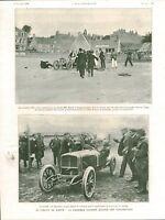 Publicité ancienne au circuit de Dieppe voiturettes 1908 issue de magazine