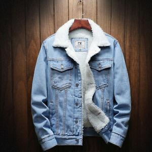 Mens Fleece Lined Winter Warm Coat Trucker Denim/Jean Fur Collar Jacket Overcoat
