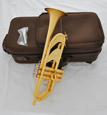 "Customized Professional Satin Gold Plated Trumpet Bb Horn 4-7/8"" Germany Brass"