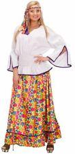 60'S VELVET HIPPIE COSTUME LADIES FLOWER POWER FANCY DRESS - EXTRA LARGE