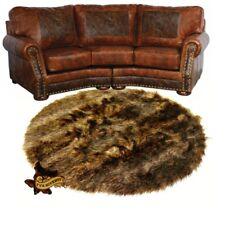 Deer Skin Faux Fur Rug - Bear - Wolf - Accent Throw Carpet - Sheepskin - Round