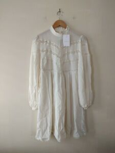 NEW Zimmermann Chevron Lace Dress Pearl Size 1 RRP $495