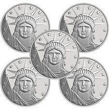 Silvertowne Lady Liberty 1 oz .999 Fine Silver Round- Lot of 5