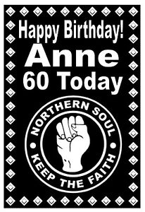 NORTHERN SOUL - HAPPY BIRTHDAY PERSONALISED CARD - ANY NAME & AGE - GLOSS FINISH