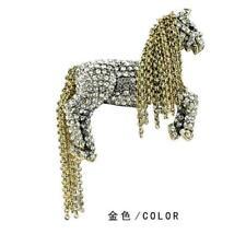 New Pretty Clear Horse Metal Hair Tail Brooch Pin Animal Rhinestone Crystal