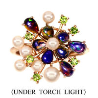 Pear Black Opal 5x3mm Chrome Diopside Pearl Natural 925 Sterling Silver Ring 7