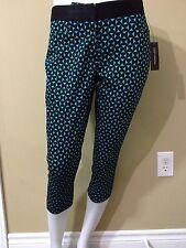 Worthington Petite Women's Blue/Black Retro Squares Cropped Pant - Size 2P - NWT