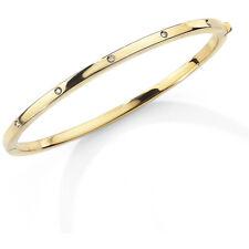 Jewelco London Ladies 9ct Yellow Gold Diamond Eternity Bangle Bracelet - 3mm