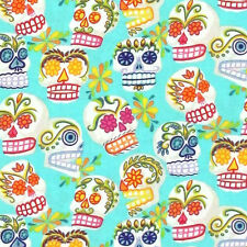"""ALEXANDER HENRY """"MINI CALAVERAS"""" Turquoise by yard"""