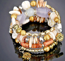 Gorgeous Multilayer Cream Beads Bracelet Vintage Resin Natural Stone Bracelets