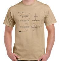 Typhoon T-Shirt Blueprints Mens RAF Eurofighter Fighter Jet Aeroplane
