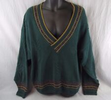 Woolrich V-Neck Sweater XL Women's Dark Green Cable Knit Extra Large USA Made