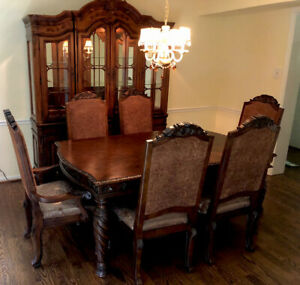 Ashley North Shore 7 Piece Dining Room Set AND Custom China Cabinet (Hutch)