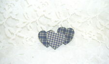 Coated Heart Pin Blue Checked Fabric
