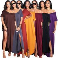 Fashion Women Summer Short Sleeves Casual V Neck High Slit Loose Vocation Dress