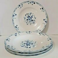 Soup Salad Bowl Laura Ashley Sophia Blue White Floral Set of 4