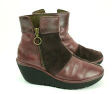 Fly London Women's EU 37 US 6.5 Boots Wine Leather & Suede Wedge Ankle Zip