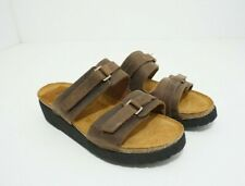 Naot Carly Women's Slip On Comfort Flip Flop Sandals Brown Leather US 4