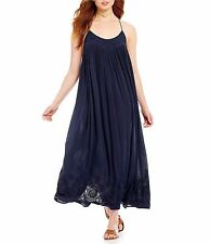 147901 NWD Intimately Free People Elaine Embroidered Navy Long Maxi Dress XS