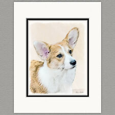 Pembroke Welsh Corgi Dog Original Art Print 8x10 Matted to 11x14