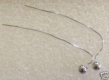10 ct white gold  Long Dangle Pull Through Earrings Box Chain