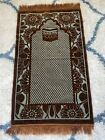 Preowned Chocolate Brown And Blue Prayer Rug, Wall Hanging Project GUC