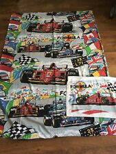 VINTAGE FORMULA 1 RACING CAR SINGLE QUILT COVER & PILLOWCASE[I HAVE 2 FOR SALE]