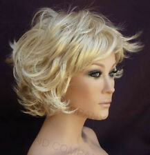 Short N Sexy Flipout curly Style wig full bangs Pale Blonde NLLx 613
