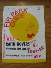 23/09/1981 Motherwell v Raith Rovers  . Item In very good condition unless previ