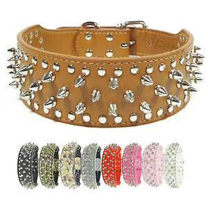 New puLeather Dog Collars Studded Pit bull Mastiff Terrier Boxer Camo pet Collar