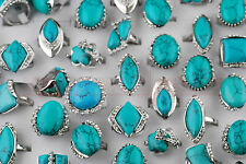 10Pcs Fashion Turquoise Crystal Tibet Silver Gemstone Rings Lots