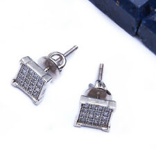 PAVE SET SQUARE STUD .925 Sterling Silver Earring