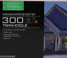 Living Solutions Holiday 300 Multi Color Twin-Cicle Icicle Lights White Wire Nib