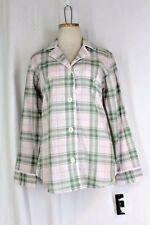RALPH LAUREN Cotton Sleep Shirt Top SMALL Pink Green Monogram Long Sleeve