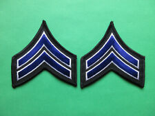 CORPORAL MILITARY SECURITY OFFICER RANK STRIPES PATCHES (BLUE / BLACK / WHITE)