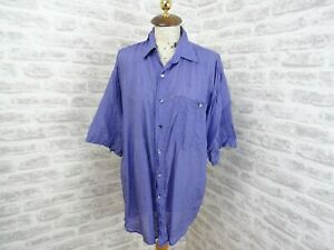 vintage  mans or unisex silk shirt  blue ANGELO LITRICO C&A  size L  T285