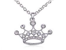 King Queen Clear Crystal Rhinestone Crown Royal Costume Pendant Necklace Jewelry