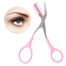 Eyebrow Eyelash Hair Scissors Comb Trimmer Pink Stainless Steel Tool UK SELLER