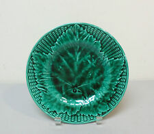 LOVELY 19th C. ENGLISH MAJOLICA ART POTTERY DARK GREEN LEAF PLATE, 9""