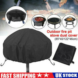 Waterproof Fire Pit Cover Patio Round BBQ Cover Dustproof Grill Outdoor Yard UK