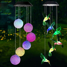Waterproof Wind Chimes LED Solar Powered Light Color Changing Yard Outdoor Decor