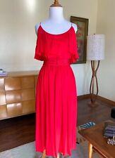 Bill Blass Collection Red Dress Sundress Vintage 1970s 80s Full Skirt Maxi
