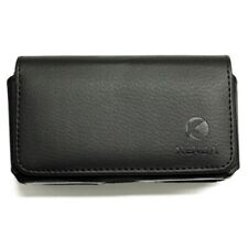 Black Leather Side Case Side Cover Pouch Holster Swivel Belt for Cell Phones