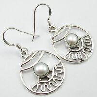 "925 Solid Silver Beautiful White PEARLHANDCRAFTED Earrings 1.5"" BIJOUX"