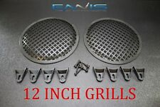 PAIR 12 INCH STEEL SPEAKER SUB SUBWOOFER GRILL MESH COVER W/ CLIPS SCREWS