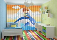 3D Dolphin Kid Blockout Photo Curtain Printing Curtains Drapes Fabric Window AU
