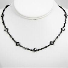 Lauren Ralph Lauren Starry Night Square Crystal Necklace Hematite Tone Chain