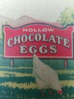 Vintage 1940's Rockwood Hollow Chocolate Eggs Box Top Candy Memorabilia Brooklyn